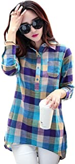 BOBORA チェックシャツ レディース トップス プルオーバー チェック柄 長袖 ロールアップ ボタンアップ シャツ