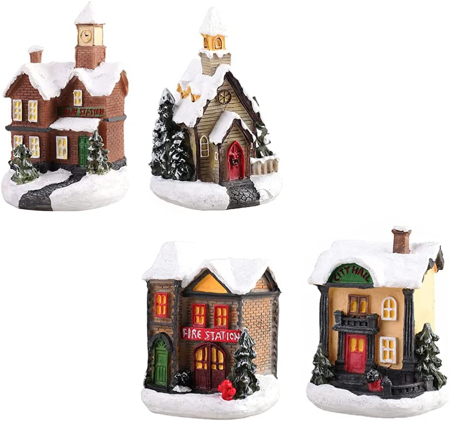Austin Mall balacoo Limited time trial price 4pcs Christmas Lighted House Luminous Mini LED Ornaments