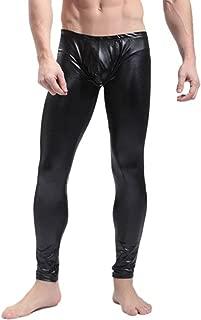 Iffee Fashion Men's Faux Leather PVC Trousers Night Club Dance Slim Long Pants