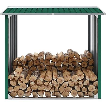 vidaXL Abri de Stockage de Bois Abri de Chauffage de Bois Abri de Jardin Rangement Extérieur Durable Acier Galvanisé 172x91x154 cm Vert