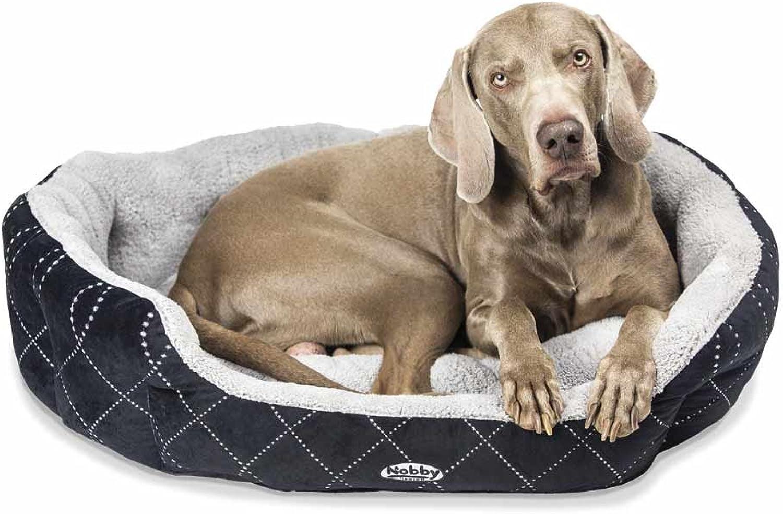 Nobby Padded Plush Oval Bed with Reversible Cushion Ceno, 86 x 70 x 24 cm, Black