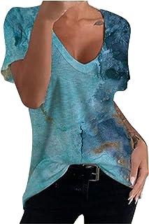 VEMOW Camiseta de Mujer Manga Corta tee Blusa Camisa para Mujer, Libélula Impresa Cuello Redondo Suelto Verano Tops Casual...