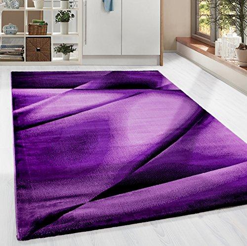 HomebyHome Kurzflor Guenstige Teppich modern geometrisch Lienien Schatten Muster Schwarz Lila Pink meliert 5 Groessen Wohnzimmer, Gästezimmer, Flur, Schlafzimmerm, Kueche, Läufer, Größe:80x150 cm