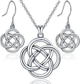 Irish Celtic Knot Jewelry set 925 Sterling Silver Pendant Necklace Dangle Hook Earrings for Women