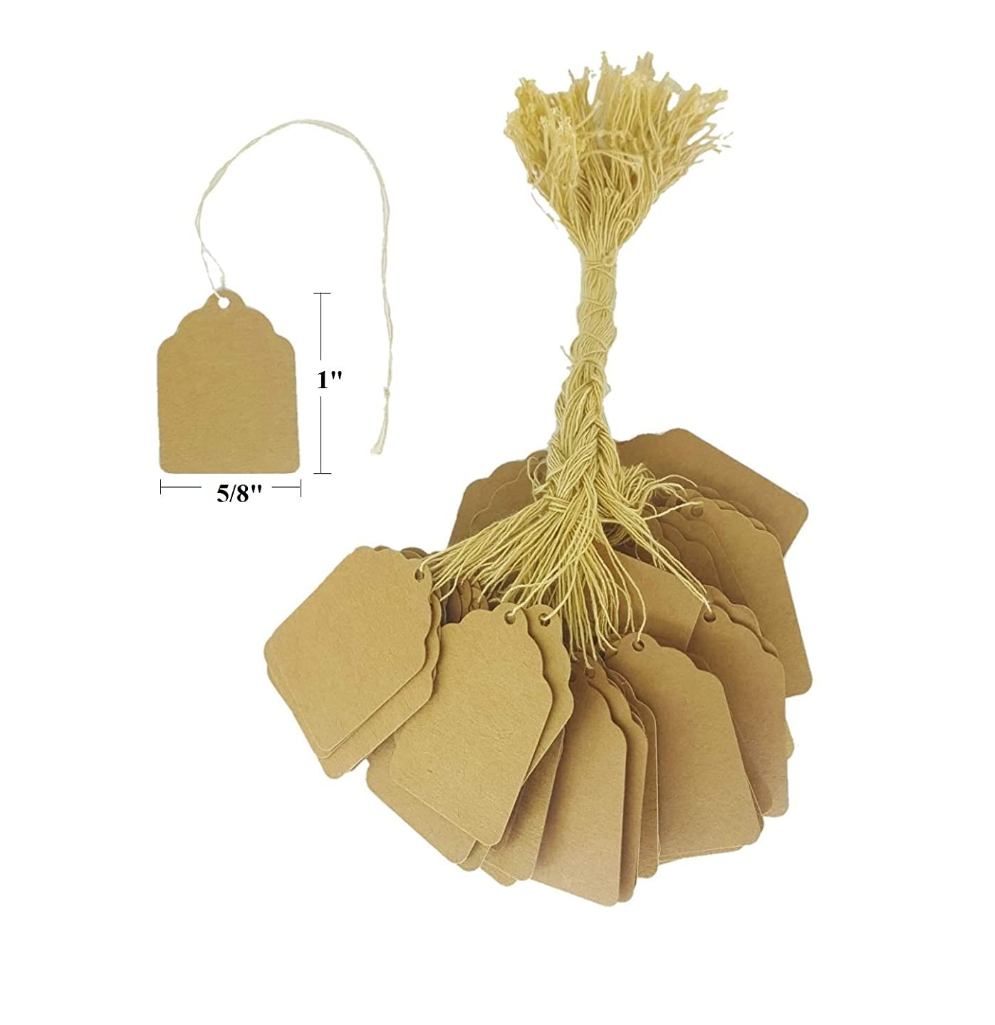 100 Pcs of Paper String Tags, Price Tags, Elegant String Tags Perfect for Gifts, Promotions, Events, or Boutique (1