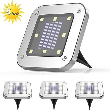 4 Pezzi Luce Sepolta Solare,AGPTEK 8 LEDS lampade da giardino solari da terra,IP65 Lampada Solare da Terra con Batteria 600mAh Per Giardino, Scala,Paesaggio,Strade,Prato,Vialetto Freddo