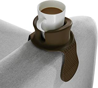 Sofa Cup Holder - Watruer The Ultimate Anti-Spill Couch Coaster Holder Food Grade Silicone Drink Holder for Your Sofa or Couch - Brown