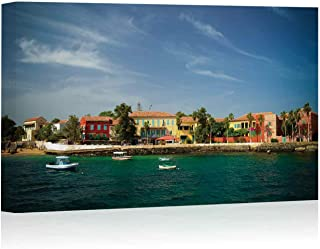 View to Historic City at The Goree Island Canvas Art Wall Decor,Senegal Painting Wall Art Picture Print on Canvas,36