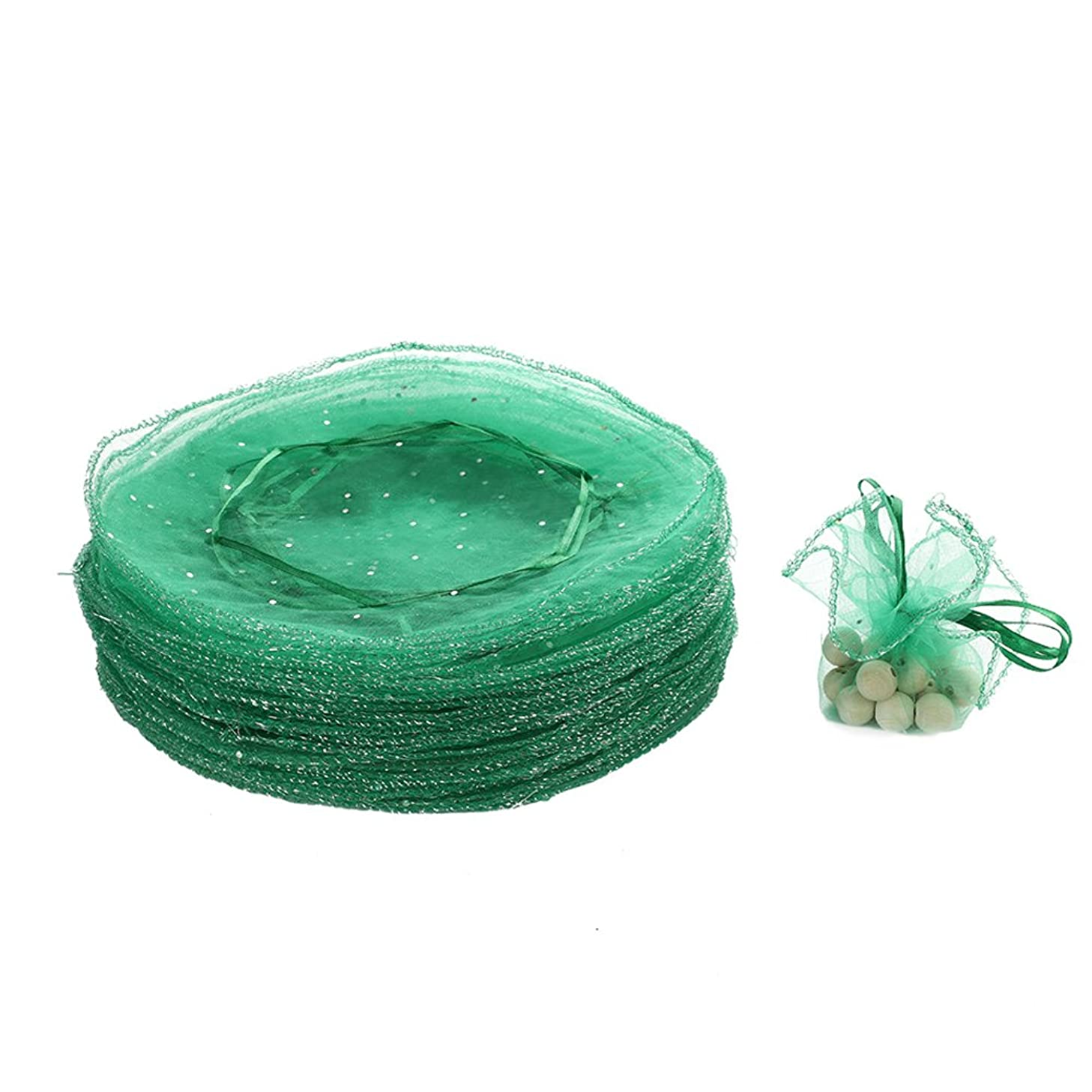 Dealglad 50pcs 25cm Round Drawstring Organza Jewelry Candy Pouch Christmas Wedding Party Favor Gift Packaging Bags (Green)
