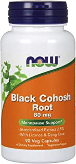 NOW Black Cohosh 80 mg, 90 Veg Capsules (Pack of 2)