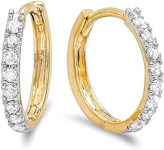 Dazzlingrock Collection 0.22 Carat (ctw) 14K Gold Real Round Cut White Diamond Ladies Huggies Hoop Earrings 1/4 CT