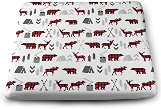 Buffalo Plaid Woodland Moose Deer Bear Forest Trees Camping Canada Memory Foam Seat Cushion/Chair Pad (Gives Relief from Back Pain) 15 X 13.7 ¡± Washable and Breathable Cover