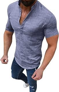 Men's Cotton Linen T-Shirt Casual Blouse Loose Tops Short Sleeve Tee Shirt
