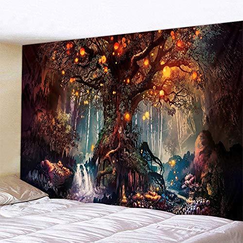 Naturer Baum des Lebens Wandteppich Wald 180x230cm Wandbehang Himmel in Wald Tapisserie Nacht Boho Psychedelic Wandtuch Hausdeko für Wohnzimmer Schlafzimmer
