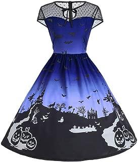 Fashion Halloween Womens Dresses Mesh Patchwork Printed Retro Sleeveless Party Dress