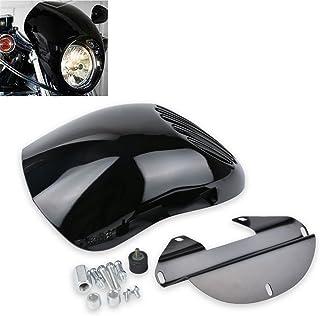 Natgic Motorbiker Phare Car/énage Custom Prison Grill Cafe Visi/ère avec Raquette pour Harley Davidson Sportster Noir