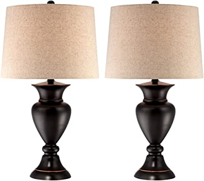 Metal Urn Bronze Table Lamps Set of 2