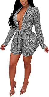 Women's Suits Two Piece Outfits - Sexy Open Front Blazer Jacket and Skinny Shorts Set Belted