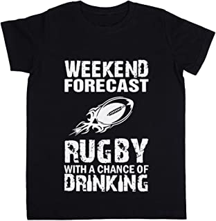Weekend Forecast Rugby with A Chance of Drinking Unisexo Niño Niña Camiseta Negro Todos Los Tamaños - Unisex Kids Boys Gir...