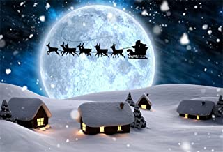 LFEEY 7x5ft Moon Night Winter Backdrops for Photography Fantasy Santa's Sleigh Ride Snowing Wonderland Fairy Tale Small Village Christmas Background Happy New Year Photo Booth Props