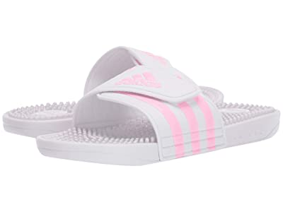 adidas Kids Adissage (Toddler/Little Kid/Big Kid) (Footwear White/True Pink/Footwear White) Girls Shoes