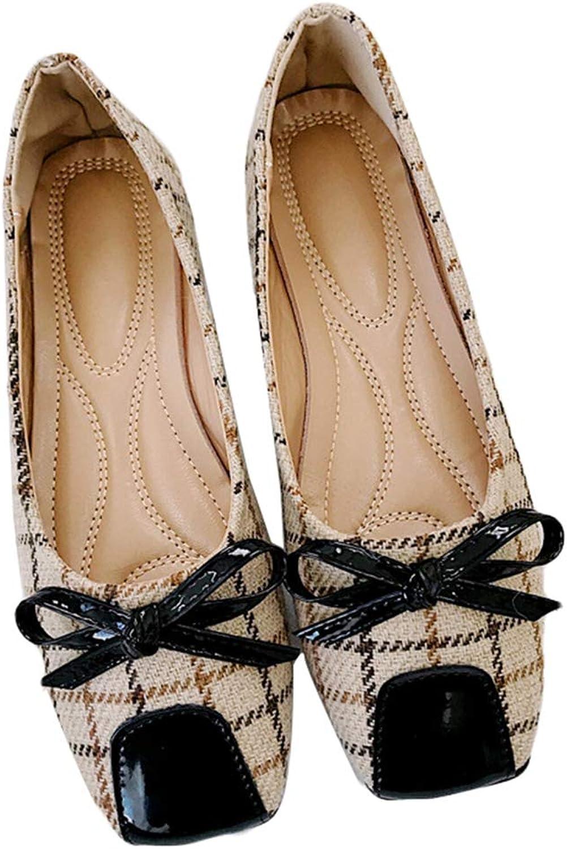 Kyle Walsh Pa Women Ballet Flats Plaid Bowknot Square Toe Slip-on Female Soft Comfortable Moccasins shoes