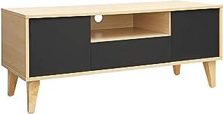 VASAGLE Mesa para TV Moderna Mueble para TV con Cajón 2 Puertas y Estante Abierto Patas de Madera Maciza 110 x 40 x 45...