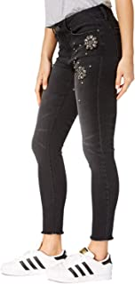 Womens Juniors More is More Embellished Skinny Ankle Jeans