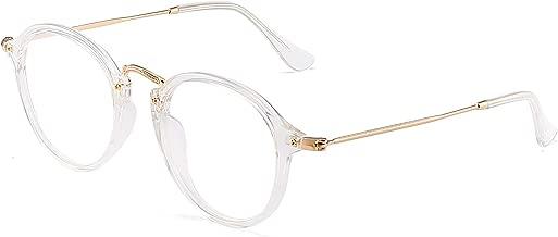 JIM HALO Retro Round Computer Glasses Blue Light Blocking Video Game Eyeglasses, Reduce Eye Strain Anti Glare Clear Lens Men Women Clear