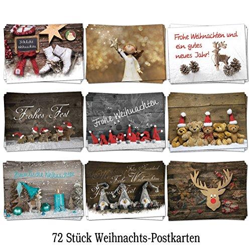 Logbuch-Verlag Weihnachtskarten Set mit 72 Stück Weihnachts-Postkarten 10,5 x 14,8 cm 9 Motive je 8 Stück Nostalgie vintage schwarz weiß rot grün türkis Karten Weihnachten
