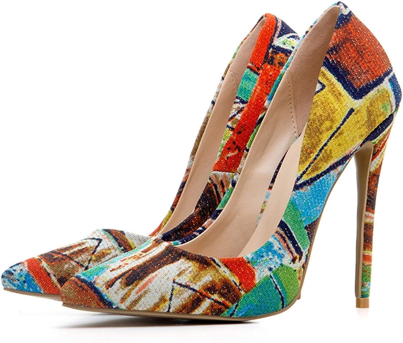 SERAPH MR1354 Damen Spitze Stilettos Stilettos High Heel Printed Dress Pumps Schuhe  viele überraschungen