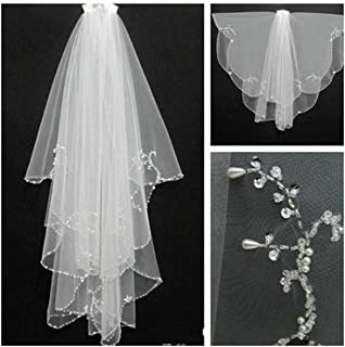ZYFZD Handmade Wedding Beaded Veil 2020 With Comb 2 Layers Tulle Sequins Bridal Veil Wedding Accessories (Color : Ivory, Item Length : 75cm)