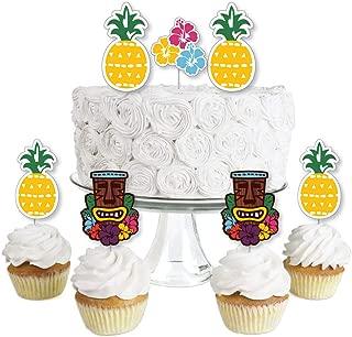 Tiki Luau - Dessert Cupcake Toppers - Tropical Hawaiian Summer Party Clear Treat Picks - Set of 24