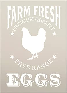 Farm Fresh Eggs- Chicken Stencil for Painting Wood Signs by StudioR12 | Reusable Mylar Template | Craft Vintage Wood Pallet Boards Galvanized Wall Decor Chalkboard DIY Farmhouse Country |Select Size