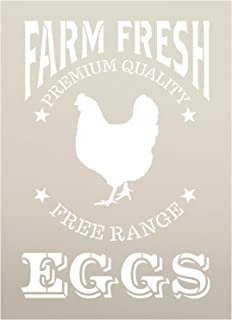 "Farm Fresh Eggs, Chicken Stencil by StudioR12 | Reusable Mylar Template | Paint, Chalk | Use for Crafting, Vintage Wood Signs, Wall Decor, DIY, Modern Farmhouse, Country, - STCL1107 (9"" x 12.5"")"