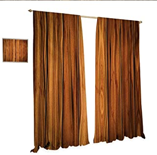 Rustic Drapes for Living Room Vertical Wooden Planks Image Cottage Cabin Life in Countryside Theme Window Curtain Drape W84 x L84 Pale Caramel and Orange.jpg