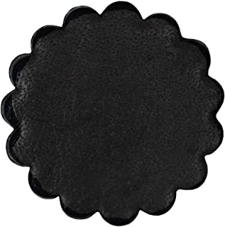 black leather rosette