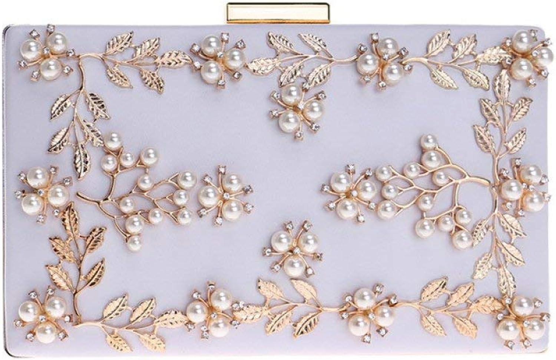 Handtasche, Damen PU Leder Clutch Perle Blaume Blaume Blaume Metallic Frame Abendtasche (Farbe   Weiß, Größe   20  4  12cm) B07P4DYZPN  Hervorragender Stil 70769a