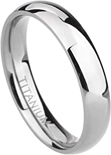 2mm 4mm 6mm 8mm 10mm Titanium Ring Plain Dome High Polished Wedding Band Comfort Fit Size 3-15