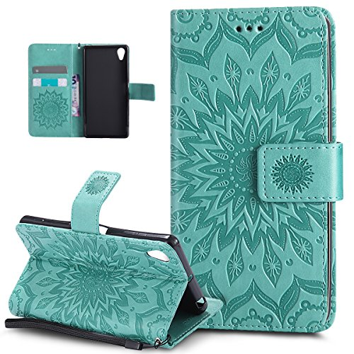 ikasus Coque Sony Xperia X Etui Embosser Gaufrage fleur soleil Housse Cuir PU Housse Etui Coque Portefeuille Protection supporter Flip Case Etui Housse Coque pour Sony Xperia X,Vert