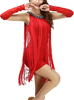 whitewed Chain Neck Charleston Tassel Tank Latin Dance Dresses Wear Costumes