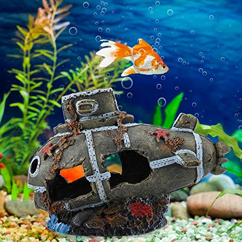 Rehomy Submarine Decor, Artificial Damaged Submarine Aquarium Fish Tank Ornament Landscape Decoration Decor