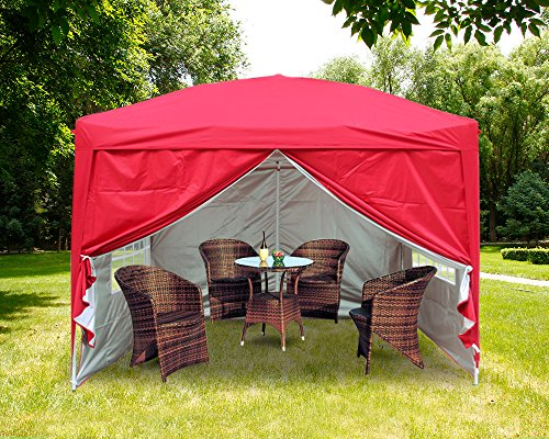 Greenbay 3M x 3M Foldable Pop up Gazebo Sun Protection Event Outdoor Tent With Four Side Panels (Two with Windows) - Red