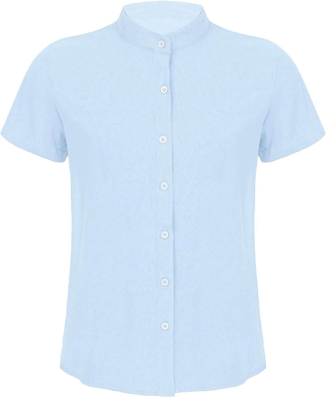 JEATHA Men's Short Sleeve Button Down Linen Shirt Mandarin Collar Shirt Casual Wear