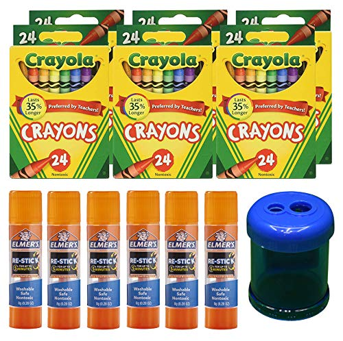 Crayola Crayons, 24 Count, 6 Pack | Elmer's Re-Stick School Glue Sticks, 6 Count | Crayon and Pencil Sharpener