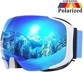 COPOZZ Ski Goggles, G2 Magnetic Snowboard/Polarized Snow Goggles -2 Seconds Quick Change Lens, Imported Double-Layer Anti Fog Lens -UV400 OTG Goggles