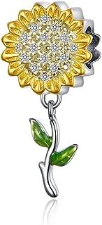 BAMOER 925 Sterling Silver Various Dazzling CZ Bead Charm for Women Snake Bracelet Charm