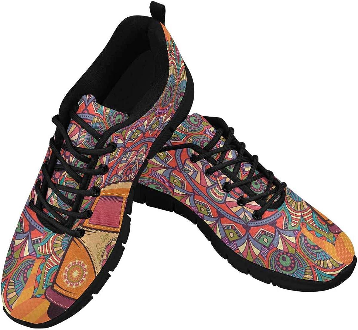 INTERESTPRINT Hippie Background Women's Lace Up Running Comfort Sports Sneakers