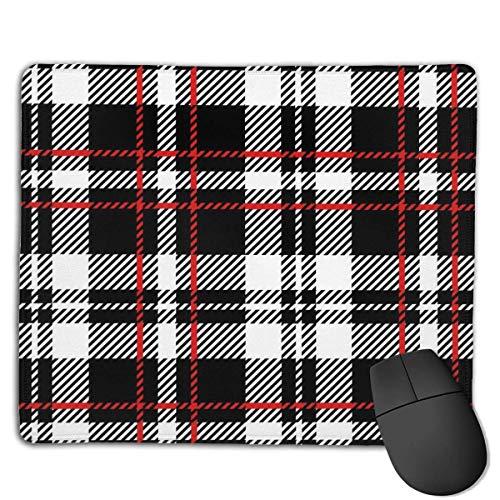 Mousepad BlackRed White Tartan Plaid Schottische nahtlose Mäusemausmatte für Computer-PC- und Mac-Spieler