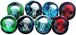 2Pcs/6Pcs/8Pcs/10Pcs Ocean Jellyfish Glass Double Flared Ear Tunnels Plugs Stretcher Expander Kit Gauge 0g-5/8